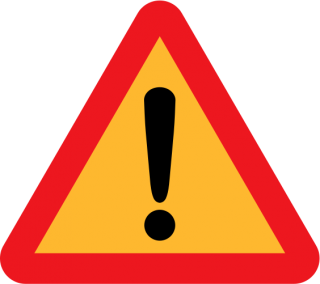 Exclamation mark inside a yellow triangle with red edges