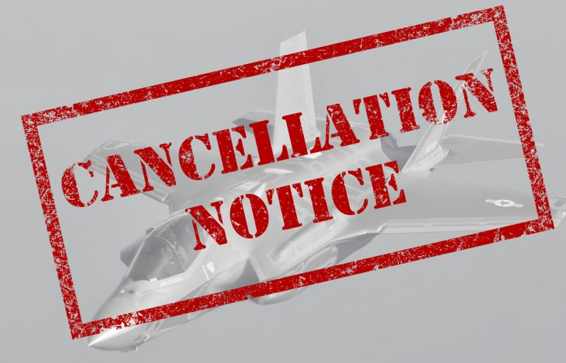 Cancellation Notice Stamped on image of a black and white F35A Lightning II