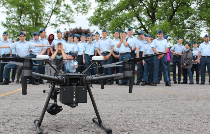 211 Sqn Air Cadets in awe of a police drone being demonstrated